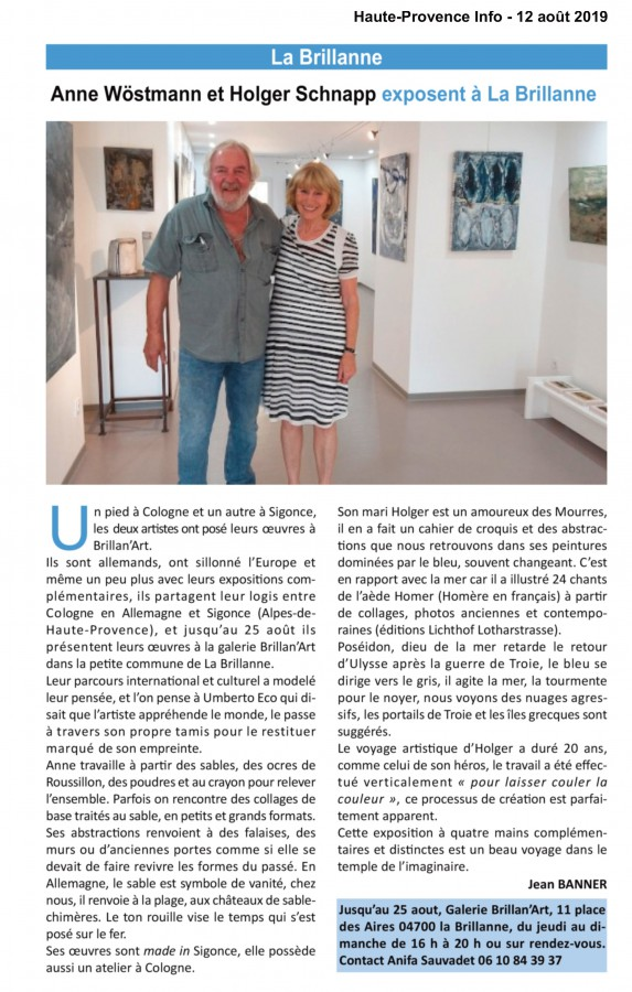 Artikel Haute-Provence Info, La Brillane, Anne Wöstmann, Holger Schnapp